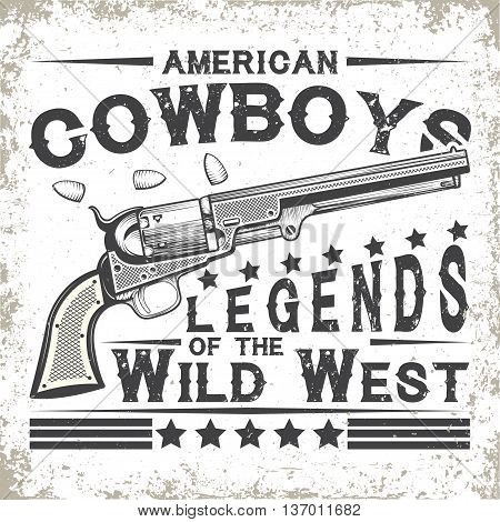 Vintage typography, Wild West t-shirt graphics,  apparel stamps, tee print design, vintage cowboy emblem, vector