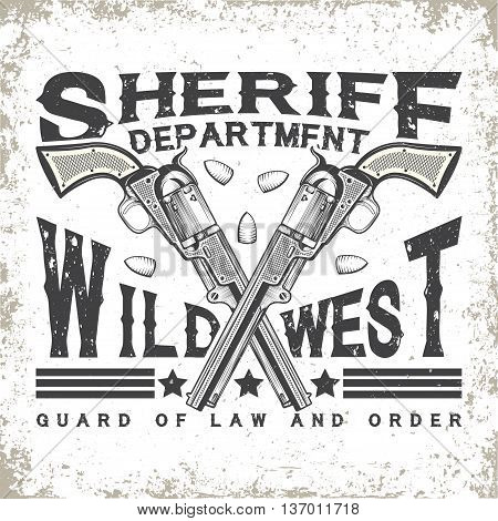 Vintage typography, Wild West t-shirt graphics,  apparel stamps, tee print design, vintage sheriff emblem, vector