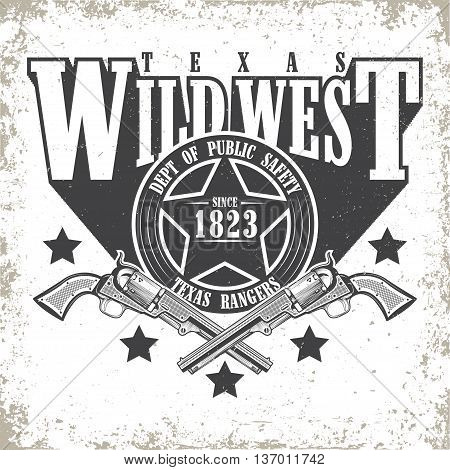 Vintage typography, Wild West t-shirt graphics,  apparel stamps, tee print design, vintage  emblem of rangers, vector