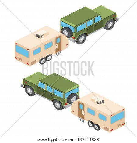 Isometric Vector Illustration Of Car And Travel Trailers. Summer Trip Family Travel Concept. Vector