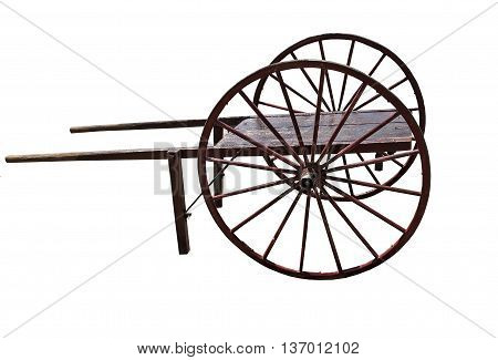 Old Cart with handle on a white background