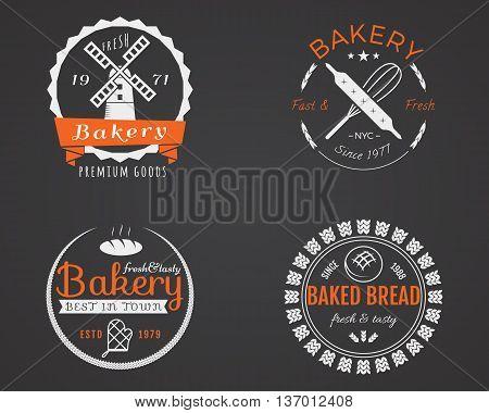 Set of bakery labels, icons, badges and design elements, symbols. Fresh bread, cakes logo templates. 2 Color vintage style. Cupcake emblem. Vector illustration.