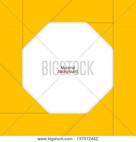 Background Unusual modern colored material design. Yellow border backdrop for web and mobile applications and sites. Vector Illustration.