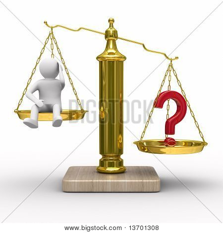 Man And Question On Scales