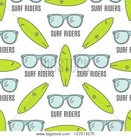 Surfing patterns. Summer seamless design with surfer glasses, surfboards. Cute flat colors. Vector illustration. Use for fabric printing, web projects, t-shirts or tee designs.