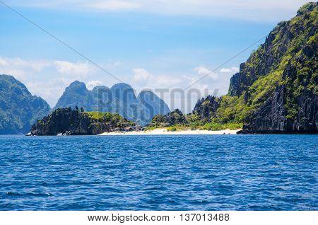 Rocks in front of Matinloc island, El Nido Palawan Philippines.