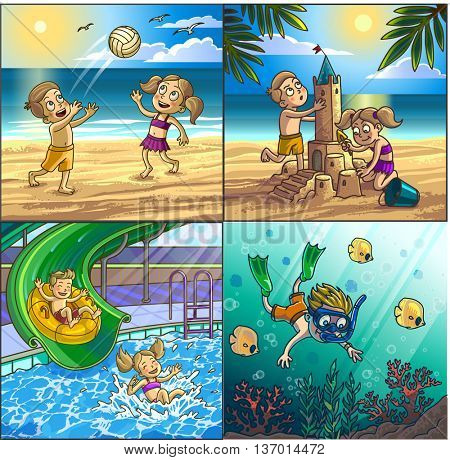 Summer fun on beach. Children are playing on seaside playing volleyball, building sand castle, diving. Water hills in an aqua park. Vector Illustration.