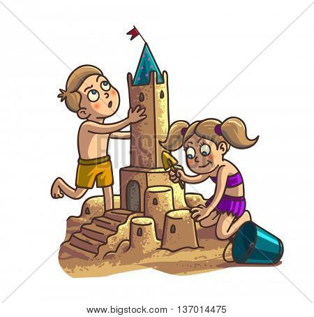 Summer fun sand castle. Cute cartoon little Happy kids Boy and girl are building sandcastle on a tropical beach with palm trees. Vector Illustration.