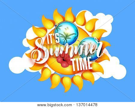Summer sun with sunglasses and kissing full lips. Lettering Sunshine design with hand written Its summer time words. Vector Illustration on blue sky background with white clouds.