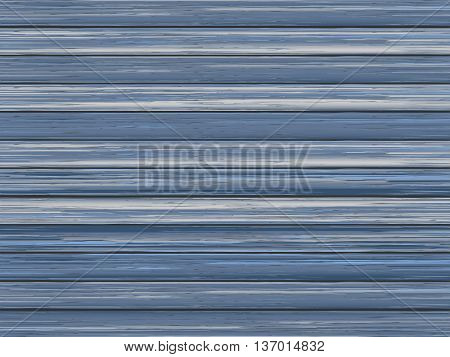 Realistic wood texture background of wood painted blue boards. Vector illustration.