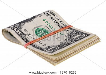stack of dollars with elastic band isolated on white with Clipping Path