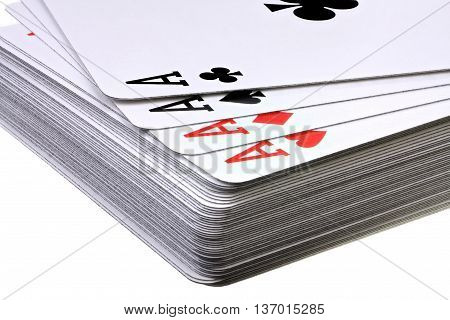 Deck of playing card with four aces on white background with clipping path