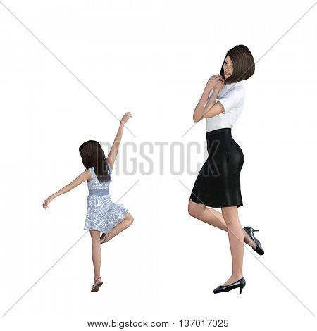 Mother Daughter Interaction of Girl Showing Off as an Illustration Concept 3d Illustration Render