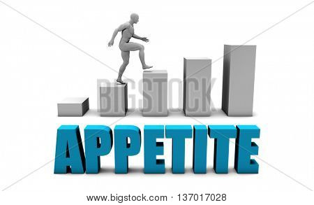 Appetite 3D Concept  in Blue with Bar Chart Graph 3d Illustration Render