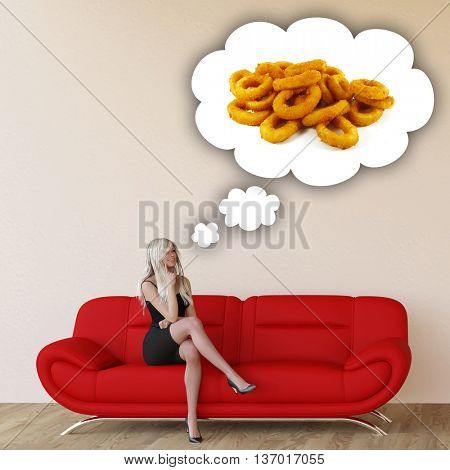 Woman Craving Onion Rings and Thinking About Eating Food 3d Illustration Render