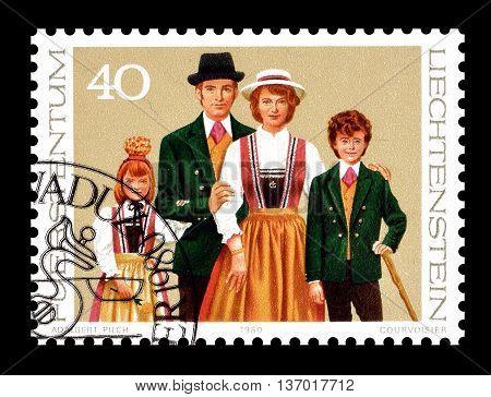 LIECHTENSTEIN - CIRCA 1980 : Cancelled postage stamp printed by Liechtenstein, that shows Family.