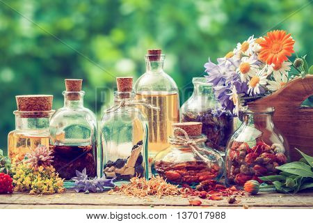 Bottles Of Tincture Or Potion And Dry Healthy Herbs, Bunch Of Healing Herbs In Wooden Box On Table O