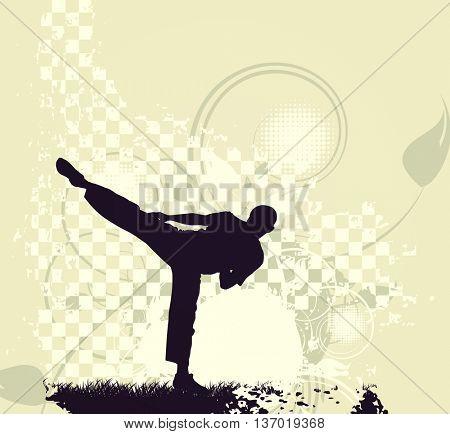 Karate illustration. Vintage style