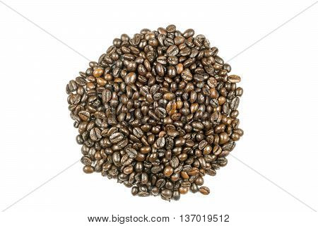 Fresh roasted coffee beans isolated on white