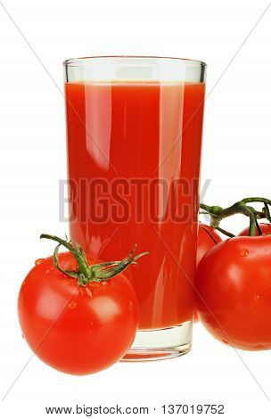 Glass of tomato juice and three ripe tomatoes on white background with clipping path