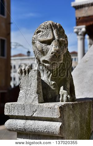 Venice Lion small statue from Rialto Old Fish Market side stairway