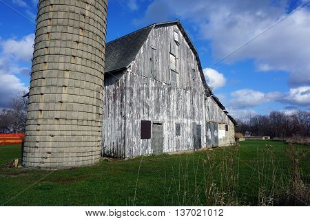 An abandoned 19th century barn and silo stand in the Plainfield Park District's Eaton Preserve in Plainfield, Illinois.