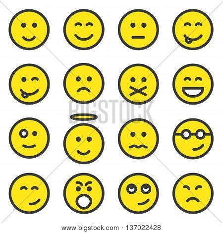 Set of yellow smiley faces icons, emoticons, emoji isolated on white background, vector illustration