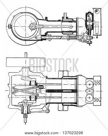 Horizontal engine with two cylinders placed side by side, vintage engraved illustration. Industrial encyclopedia E.-O. Lami - 1875.