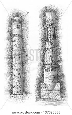 Cross-section of a Gallo-Roman funeral pit of Bernard Vendee. Drawing by Sellier. From Magasin Pittoresque, vintage engraving, 1878.