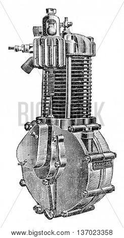 Type motor fins, vintage engraved illustration. Industrial encyclopedia E.-O. Lami - 1875.
