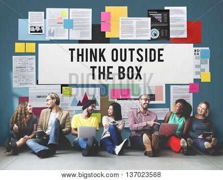 Think Outside The Box Creativity Ideas Imagine Concept