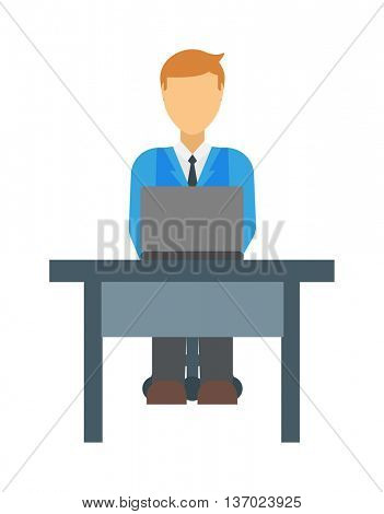 Sitting man vector illustration.