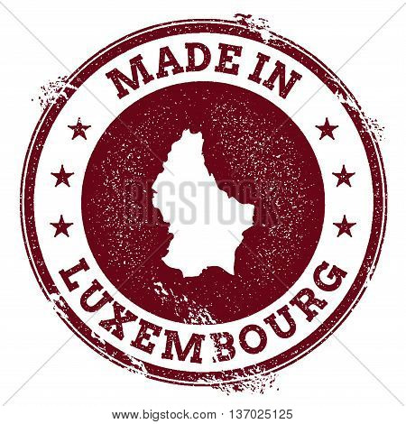 Luxembourg Vector Seal. Vintage Country Map Stamp. Grunge Rubber Stamp With Made In Luxembourg Text