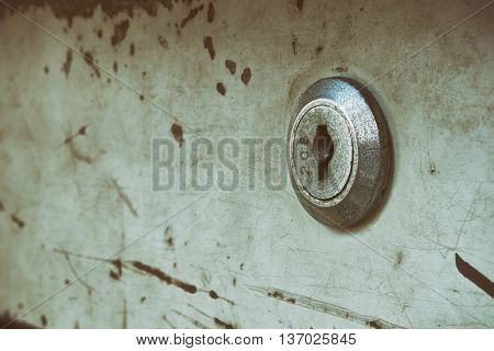Old key hole of steel cabinet vintage style