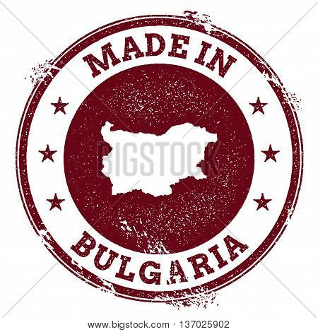 Bulgaria Vector Seal. Vintage Country Map Stamp. Grunge Rubber Stamp With Made In Bulgaria Text And