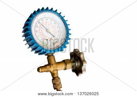 refrigeration low pressure gauge on white background