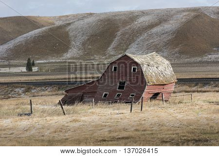 An old Red Barn on the North Dakota Prairie
