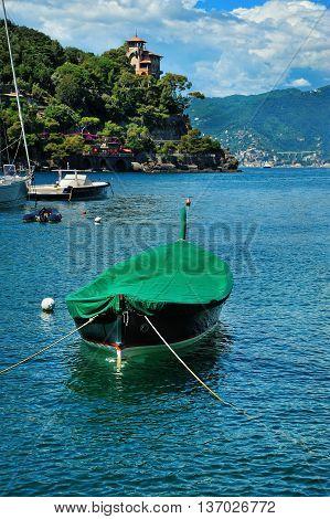 Lonely boat in Portofino bay Italian riviera