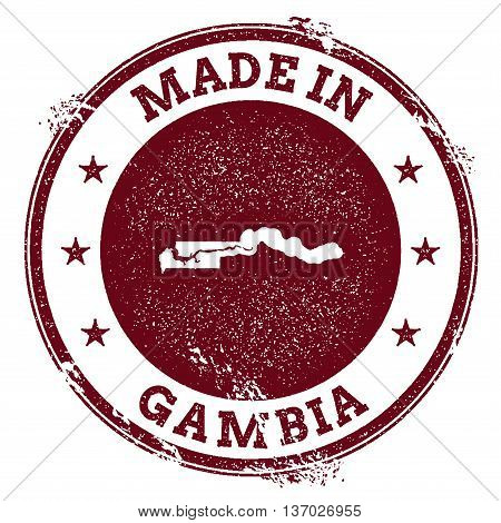 Gambia Vector Seal. Vintage Country Map Stamp. Grunge Rubber Stamp With Made In Gambia Text And Map,