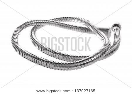 Modern chrome hose isolated on white background