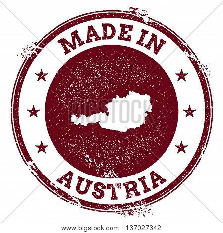 Austria Vector Seal. Vintage Country Map Stamp. Grunge Rubber Stamp With Made In Austria Text And Ma
