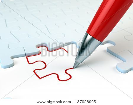 Red pen drawing a puzzle piece. Solution concept. 3d illustration