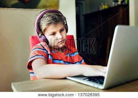 Bored Boredom Child Headphone Depressed Tired Concept