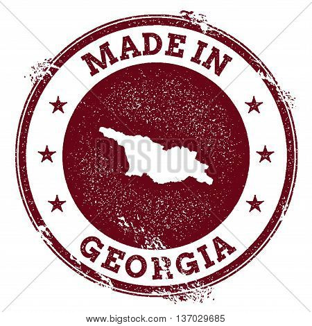 Georgia Vector Seal. Vintage Country Map Stamp. Grunge Rubber Stamp With Made In Georgia Text And Ma