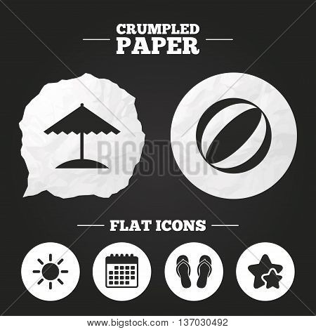 Crumpled paper speech bubble. Beach holidays icons. Ball, umbrella and flip-flops sandals signs. Summer sun symbol. Paper button. Vector