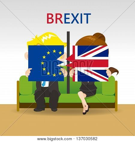 Cartoon Brexit concept - young couple holding split United Kingdom flag and EU flag