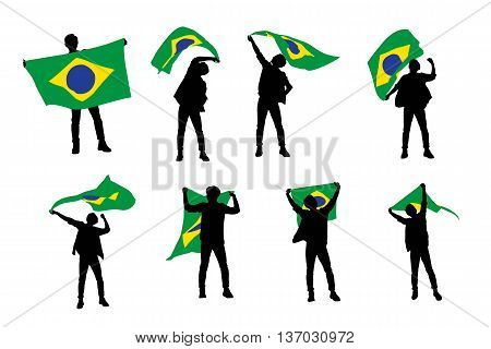 silhouette of excited man holding a brazil flag with white background