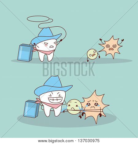 cartoon cowboy tooth with dental floss great for health dental care concept