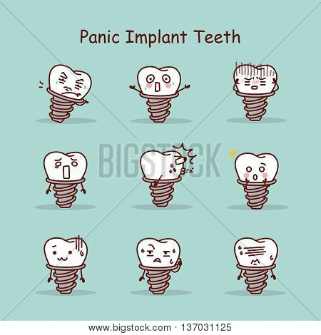Panic cartoon tooth implant set great for your design