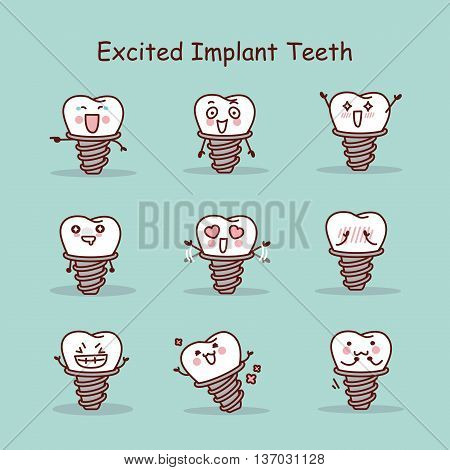 Excited cartoon tooth implant set great for your design